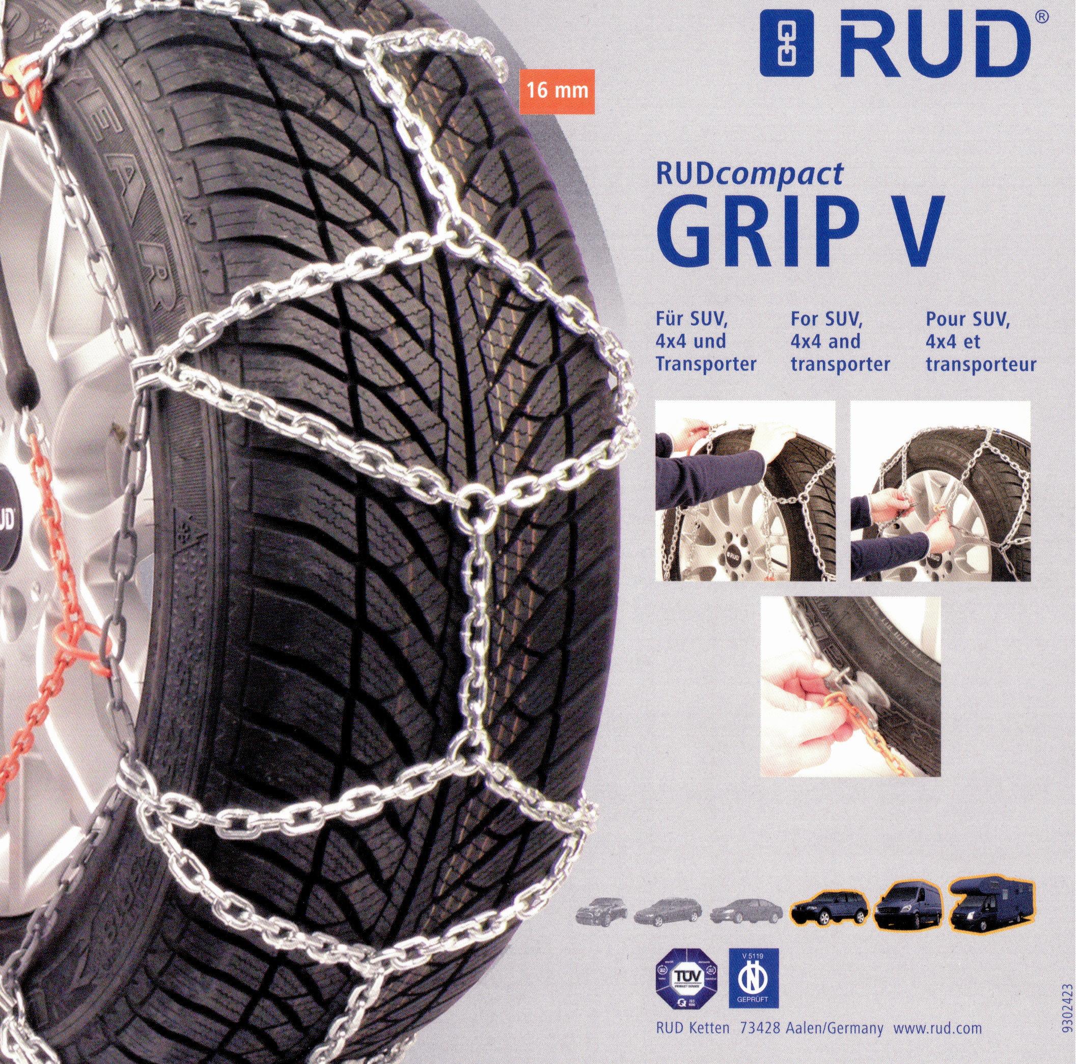 RUDcompact Grip V Schneekettenpaar Größe 0143-2002743 für Reifen 225//65 R17
